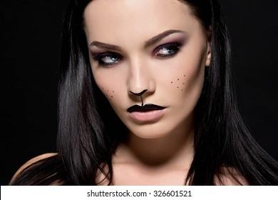 Royalty Free Cat Halloween Makeup Stock Images Photos