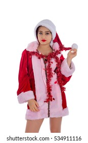 Beautiful young woman dressed christmas costume. Christmas and New Year image, isolated on white