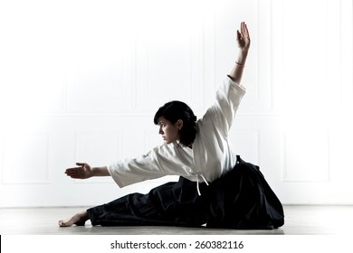 beautiful, young woman dressed in a hakama, practicing  kung fu