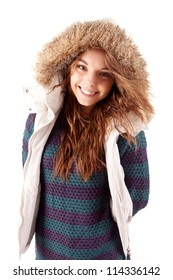 Beautiful young woman dressed for winter