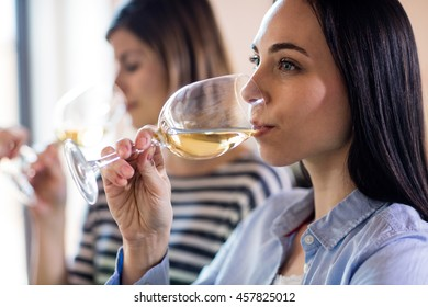 Beautiful young woman drinking wine with friends in bar
