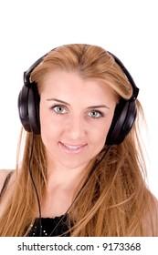 Beautiful young woman enjoy in music.