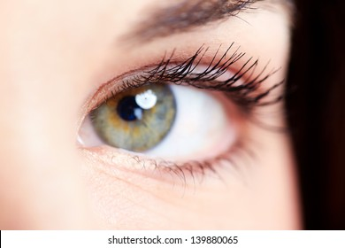 Beautiful young woman eye closeup. Vision background.