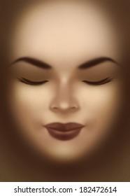 Beautiful young woman face close-up