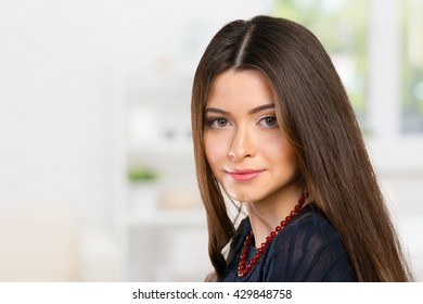 Beautiful young woman face closeup