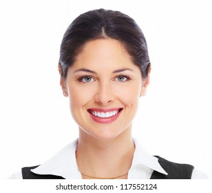 Beautiful young woman face. Dental health.