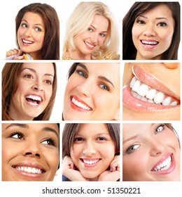 Beautiful young woman faces. Smiles and teeth