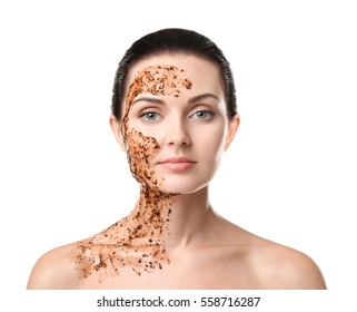 Beautiful young woman with facial scrub mask on white background