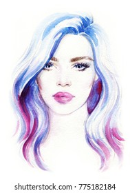 beautiful young woman. fashion illustration. watercolor painting