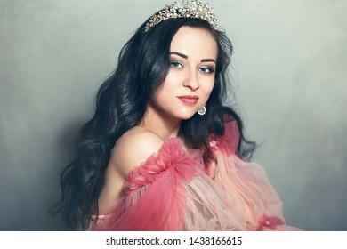 beautiful young woman female model crown beauty shot
