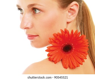 A beautiful young woman with a flower, isolated on white background