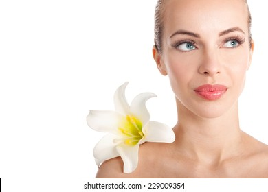 beautiful young  woman and flowers