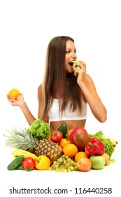 beautiful young woman with fruits and vegetables, isolated on white