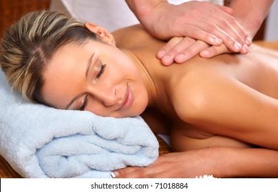 Beautiful young woman getting a massage