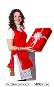 beautiful young woman a gift box