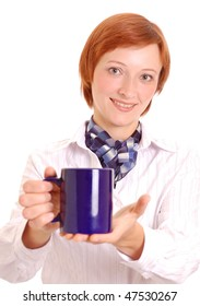 beautiful young woman giving the blue cup