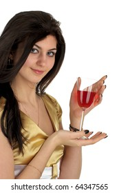 Beautiful young woman with glass of red wine over white background