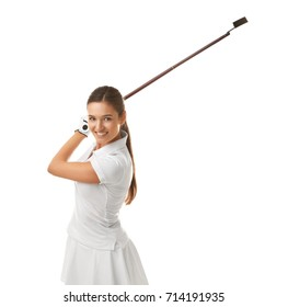 Beautiful young woman with golf iron on white background