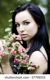 Beautiful young woman with green eyes