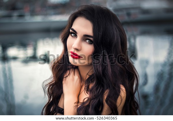 Beautiful Young Woman Green Eyes Long Stock Photo Edit Now