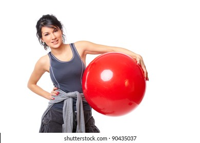 Beautiful young woman with gym ball exercising, isolated on white background