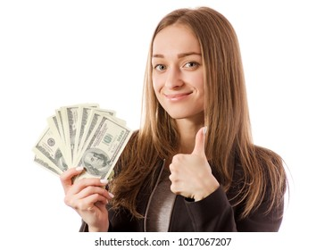 Beautiful young woman in the hands of money dollars super on white background isolation