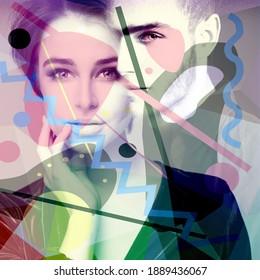 Schöne junge Frau und gut aussehender Mann, Doppelporträt. Verliebt.