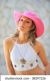 beautiful young woman with hat