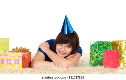 beautiful young woman having fun celebrating her birthday