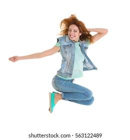 Beautiful young woman having fun on white background