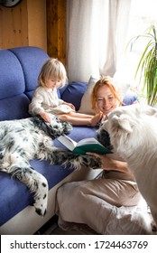 A beautiful young woman and her little cute daughter are sitting on a blue sofa and reading their favorite book with their dog