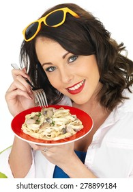 Beautiful Young Woman in Her Twenties Holding a Plate of Carbonara Cream Pasta With Ham
