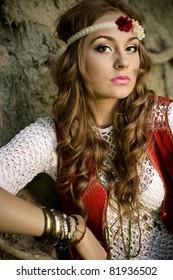 beautiful young woman hippie