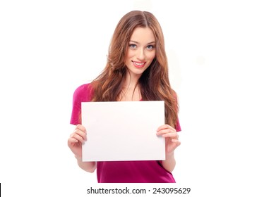 Beautiful young woman holding blank card. Isolated on white background smiling female portrait.