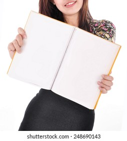 beautiful young woman holding an empty magazine, isolated on white background