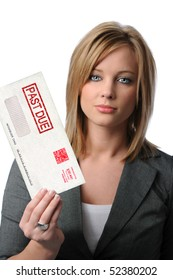 Beautiful young woman holding Past Due envelope isolated over white