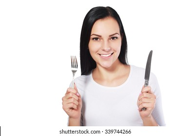 beautiful young woman isolated woman with fork and knife