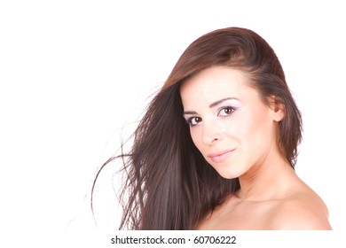 Beautiful young Woman  isolated on white background