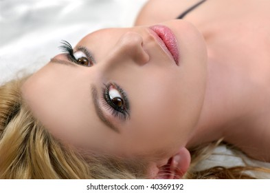 The beautiful young woman with light hair
