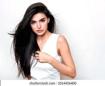 beautiful young woman with long black hair