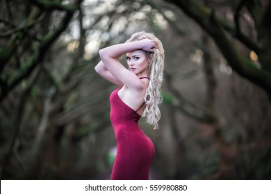 Beautiful young woman with long blonde hair and long red dress posing in the Winter woodland of England