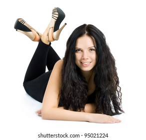 beautiful young woman lying on the floor