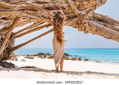 beautiful young woman on the beach at hot summer day