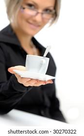 beautiful young woman on coffee break
