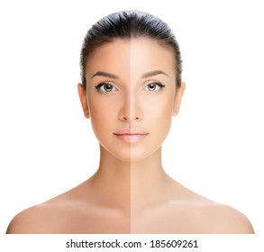 beautiful young woman on a white background, beauty concept. tan before and after.face divided in two parts, tanned and natural.