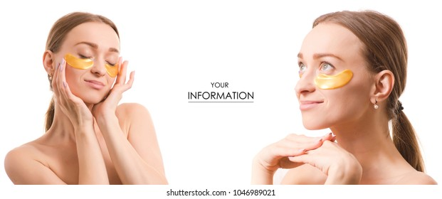 Beautiful young woman with patches under eyes beauty cosmetics set pattern on white background isolation