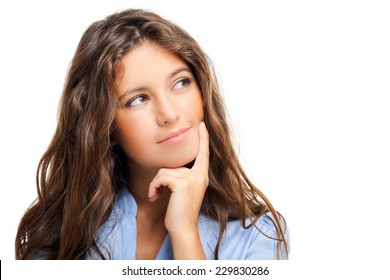 Beautiful young woman in a pensive expression