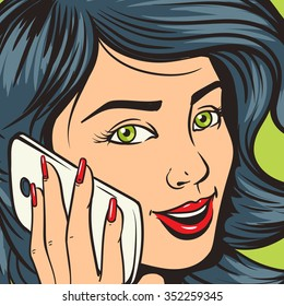 Beautiful young woman with phone pop art raster illustration. Comic book imitation. Colorful hand drawn illustration