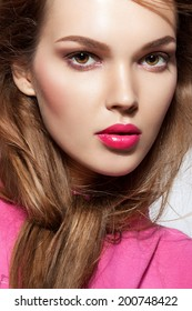beautiful young woman pink lips 260nw 200748422