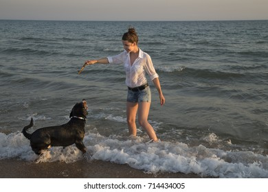 Beautiful young woman playing with her dog on the sea beach during sunset.